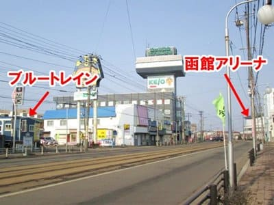 函館ブルートレインの函館アリーナとの位置関係