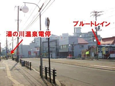 函館ブルートレインの湯の川温泉電停との位置関係