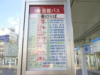 函館駅前5番乗り場のバス停
