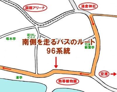 函館空港から湯川温泉に向かうときに南側を走るバスのルート