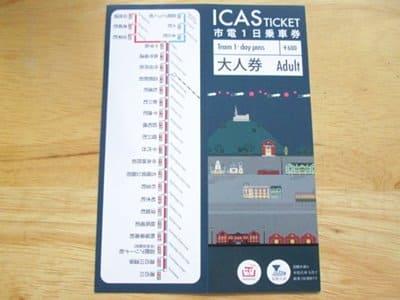 函館市電1日乗車券の表