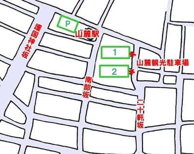 函館山ロープウェイ山麓駅側の駐車場の位置