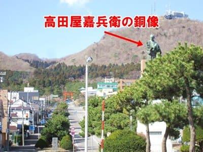護国神社坂の下にある高田屋嘉兵衛の銅像